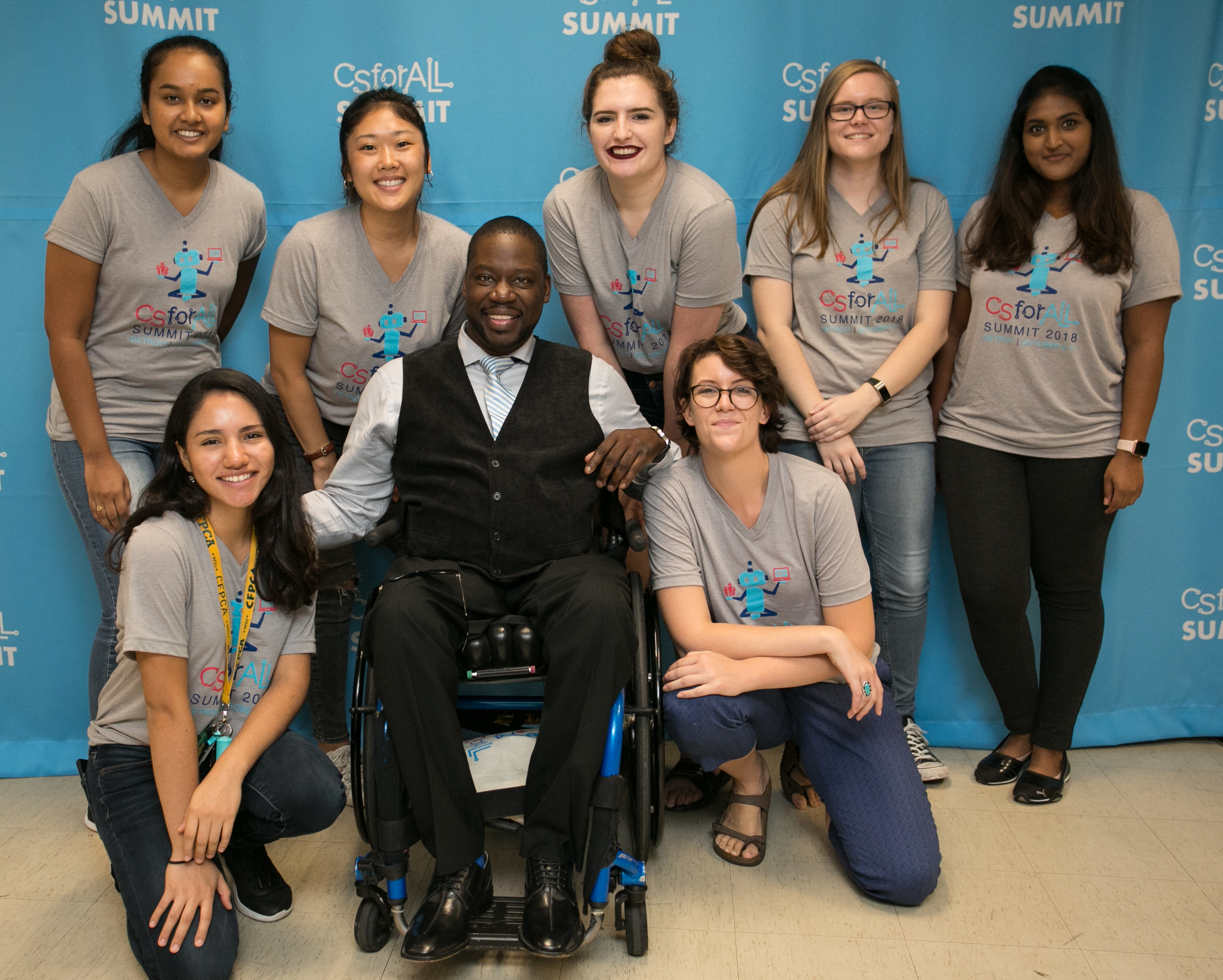 "CSforALL Summit 2018 volunteers with Daryl ""Chill"" Mitchell"